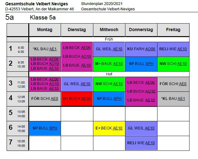 Beispielstundenplan einer 5. Klasse